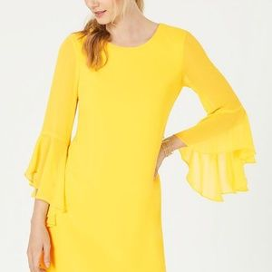 Yellow Bell-Sleeve Dress